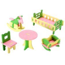Puppenhaus Zubehör Möbel Miniaturen Holz Kinder Baby Zimmer 5-tlg. 7486