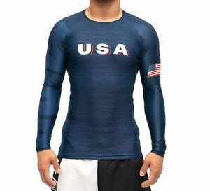 New Fuji USA 2.0 MMA BJJ Jiu Jitsu LongSleeve Long Sleeve LS Rashguard - Blue