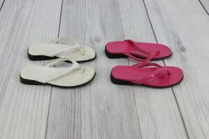 Faded Glory Little Girls Thongs Flip Flops Sandals Bundle Lot Size 10 Pink White