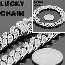 "8.2""14K WHITE GOLD FINISH ICED OUT LAB DIAMOND CUBAN LINK BRACELET 12mm60g IP100"