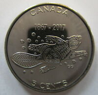 2017 CANADA 5¢ 1867-2017 150TH ANNIVERSARY OF CANADA BRILLIANT UNCIRCULATED COIN