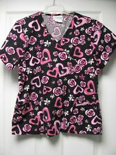 Libby/ Black with Pink Hearts Ladies Scrub Top/ Size Medium/ Back Tie