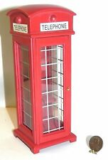 Dollhouse Miniature Phone Booth Red Vintage Style Door Opens Minis 1:12