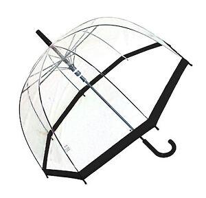 Regenschirm transparent durchsichtig Automatik Stockschirm Glockenschirm schwarz