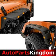 07-17 Jeep Wrangler JK Black Pocket Style+Rivet Front+Rear Fender Flares+10x LED