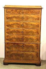 Original antique tallboy chest of 7 drawers flame mahogany inlay 1830 Empire
