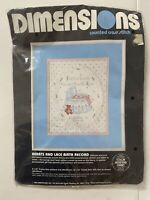 Dimensions Counted Cross Stitch Kit Hearts and Lace Birth Record 8x10 NEW NIP