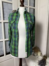SuperDry Womens Button Shirt Blouse Size S Small Multicoloured Plaid Long Sleeve