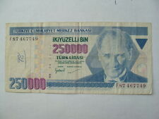 TURKEY 250000 LIRAS  1970