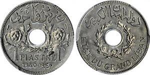 LEBANON , 1 PIASTRE 1940 - ZINC -  PCGS MS 64 ,, RARE