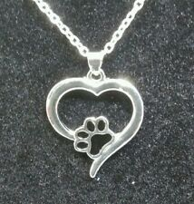 Dog paw print heart necklace pendant Kitty cat love memorial