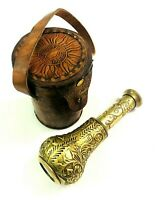 Antique Maritime Brass Engraved Pocket Telescope Nautical Spyglass Leather Case