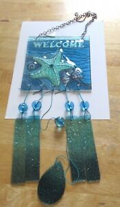 Wind Chime- STARFISH- Welcome -square -blue green-glass -5 chimes -glass beads