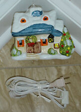 Ceramic Winter House With Open Windows & Electric Cord With Push-On Switch-New