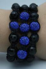 Macrame Beaded Cross Bracelet With Black Crystal And Blue Alloy shaping a Cross
