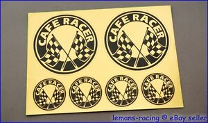 GOLD CAFE RACER Chequered Flag Stickers Decals Kit Enfield CB750 Ducati 500 BMW