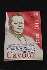 FOLDER 2 EURO COMMEMORATIVO ITALIA 2010 200° CAMILLO BENSO CONTE DI CAVOUR