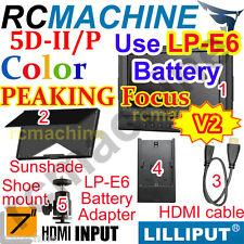 """Lilliput 7"""" 5D-II/P HDMI Monitor Canon LP-E6 adapter PEAKING, Zebra Exposure"""