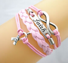 Infinity/Faith/Cancer Awareness ribbon With Hope Leather Braided Bracelet PINK