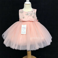 Gorgeous Baby Girl Pink Occasion Tutu Dress Silver Embroidered Flowers Romany