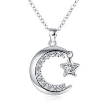 NEW 925 Sterling Silver Filled Moon Crescent Star Pendant Charm Necklace Gift