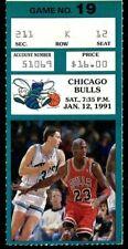 Ticket Basketball Chicago Bulls 1991 1.12 Charlotte Hornets Michael Jordan