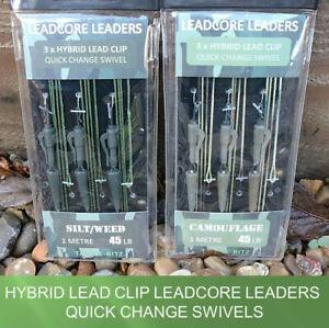 Fishing Tackle Leadcore Carp Leaders Hybrid Lead Clip Swivels 1m 45LB 3 Pack