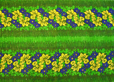 VINTAGE FLORAL ART NARCISSUS PRINT GREEN YELLOW JUTE BLEND TABLE RUNNER