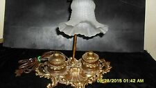 Vintage Brass Goose Neck Double Inkwell Lamp Rare