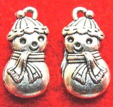 50Pcs. WHOLESALE Tibetan Silver Christmas SNOWMAN Charms Pendants Drops Q0548