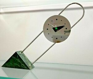 Canetti Clock 1980s Memphis Milano Pop Art Postmodernist Marble Chrome AS IS