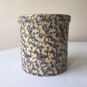 Robinson Ransbottom Pottery Roseville Ohio Blue Spongeware 2 QT High Jar / Crock
