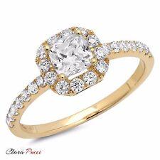 1.60 CT Engagement Ring Princess Cut Halo Solid 14k Yellow Gold Bridal band