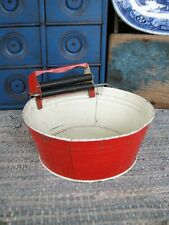 New listing Antique Toy Tin Washtub and Wringer Original Red Paint