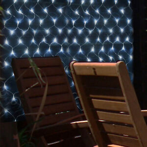 2 PACK 105 LED OUTDOOR SOLAR POWER WHITE NET BLANKET GARDEN DECKING FAIRY LIGHTS