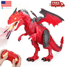 Betheaces Remote Control Dinosaur Dragon Toy For Kids with Roaring Spraying Red