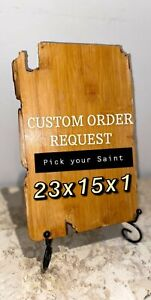 CUSTOM REQUEST ORDER - PICK ANY SAINT icon wooden  SIZE SMALL RECTANGULAR