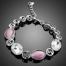 Platinum Plated Pink & Clear Paved Bracelet Made With Swarovski Crystals B680