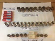 Lot of 36 Collets, R8, 5C, TG150 and TG100