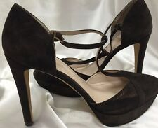 Vince Camuto Women High Heel Platform Shoes Suede Brown/Bronze Size 9.5M 39.5