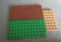 LEGO DUPLO Green/Brown 6 x 12 Stud BASE BOARD / BASEPLATE x2 + 4 x 8 Beige Base
