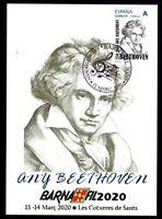 Tarjeta Barnafil 2020 nº 12 Beethoven 250 años Nacimiento sellos España