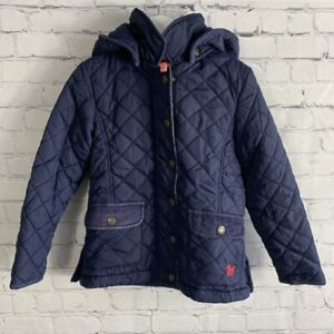 Mini Boden Quilted Coat Jacket Hooded Navy Blue Corduroy Collar Size 4-5Y