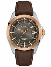 Bulova 98B267 Men's Precisionist Brown Leather Strap Date Calendar 43mm Watch