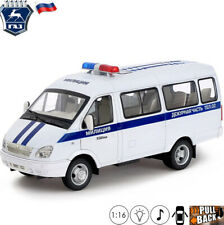 Model Car Scale 1:16 Minibus GAZelle 32212 Russian Police Toy With Light/Sound