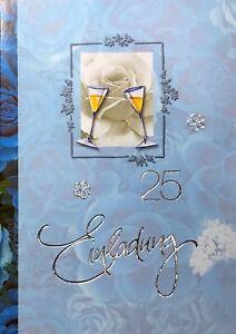 Einladungskarten Silberhochzeit Motiv Sektgläser silberne Hochzeit (176)
