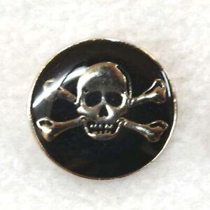 Skull and Crossbones Buttons, Metallic Skull on Black,25mm,  Ideal Halloween!