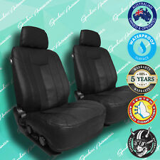 HOLDEN BARINA BLACK LEATHER CAR FRONT SEAT COVERS, THICK VINYL ALL OVER SEAT