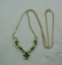 "10K Yellow Gold 18""  Emerald & CZ Necklace"