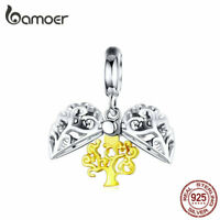 BAMOER Authentic 925 Sterling silver Charm Life tree Dangle Fit Bracelet Jewelry